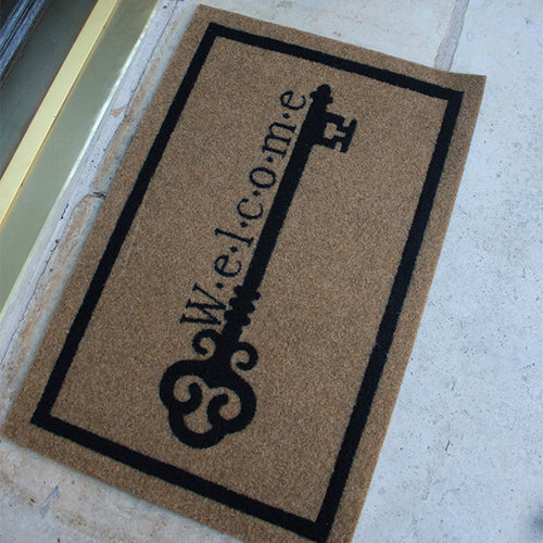Infinity Custom Mats™ All-Weather Door Mat - STYLE: VINTAGE KEY WELCOME COLOR:TAN