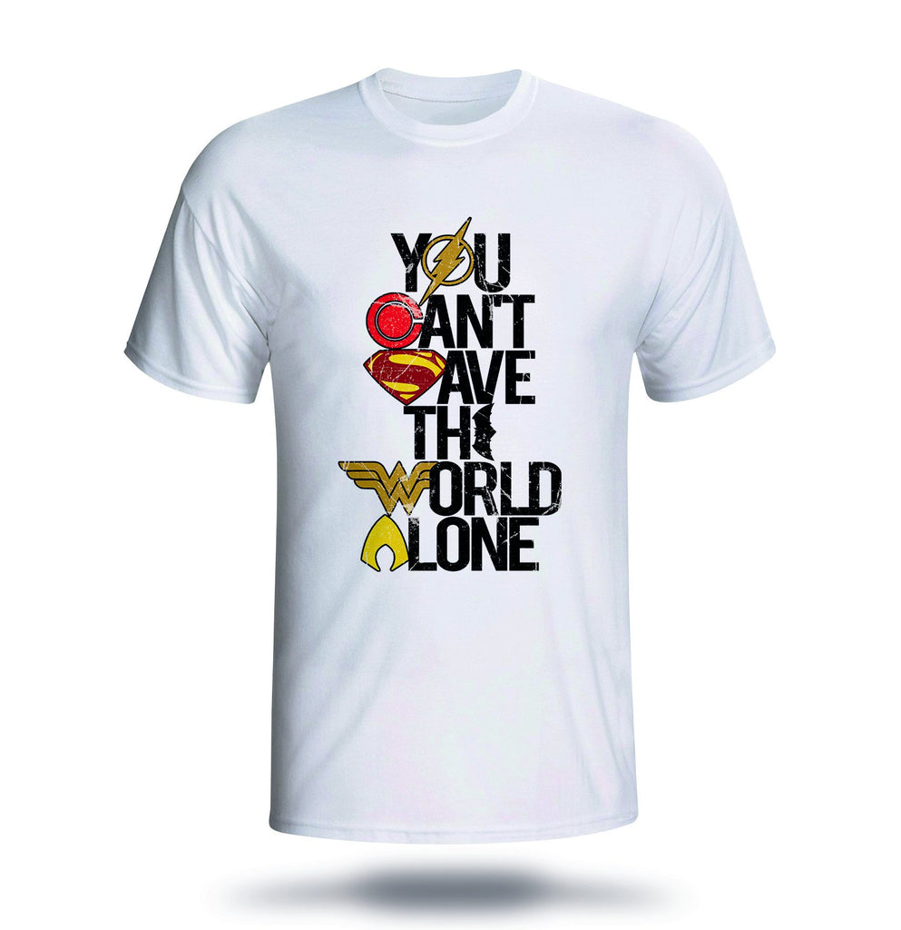 83f1dd419 'You Can't Save the World Alone' Colourful Superhero T-Shirt