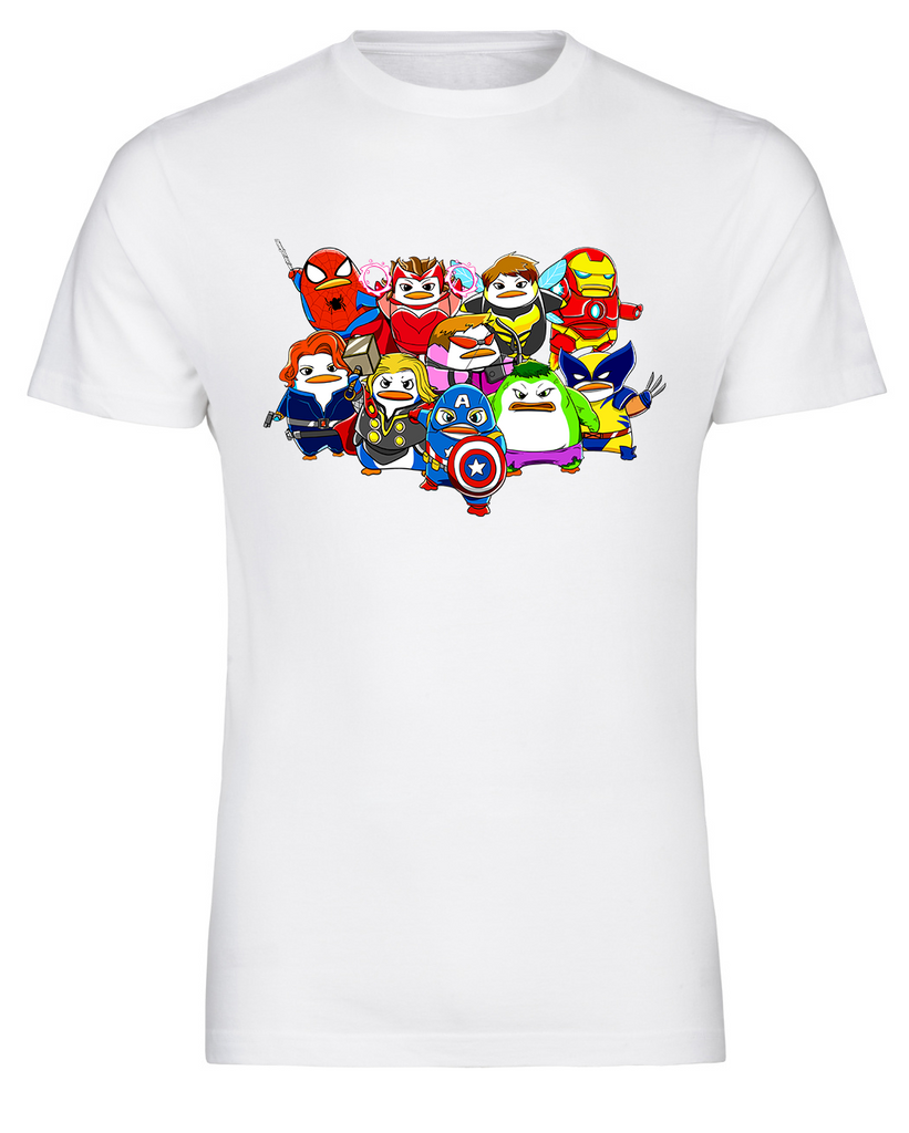 a7c567700 ... Marvel Comic Inspired Avengers Penguin Avenguins Group T-Shirt - FireFish  Design ...