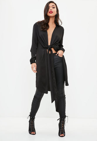 Satin Twist Front Longline Shirt