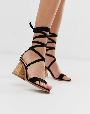 Black Ankle Tie Cork Heeled Sandals