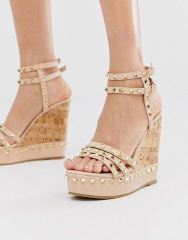 Truffle Collection studded wedge in beige