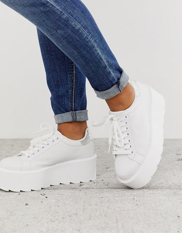Chunky Sneakers In White & Silver