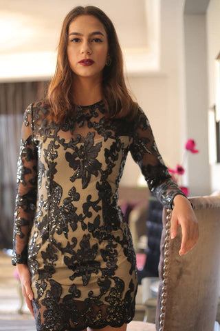Floral Print Sequin Dress