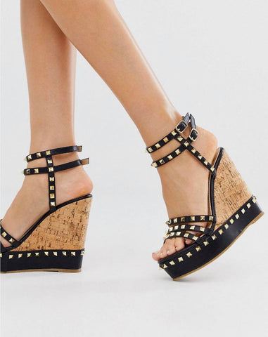 Studded Wedged Sandals