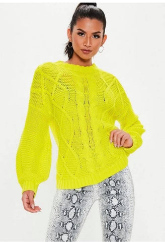 Yellow Cable Knitted Jumper