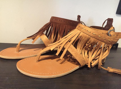 Fringed Faux Suede Sandals
