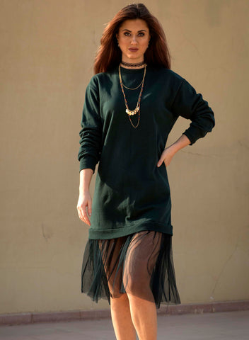 Sweatshirt Dress with Tulle insert