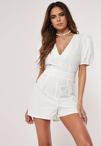 White Milkmaid Playsuit