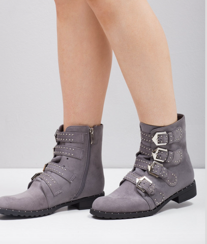 Grey Buckle Western Ankle Boots