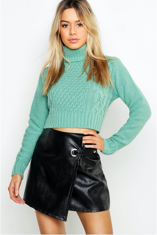 Roll Neck Cable Knit Crop Jumper