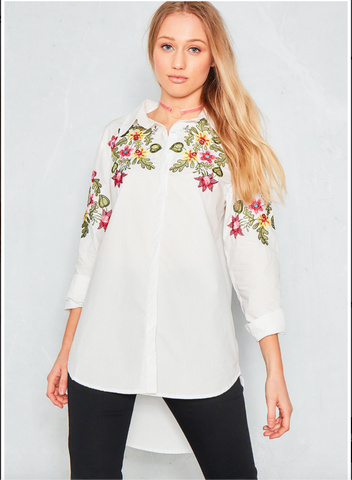 White Embroidered Long Shirt