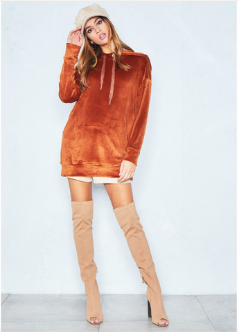 Rust Velour Hoody Dress