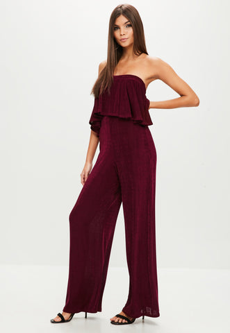 Burgundy Slinky Wide Leg Jumpsuit