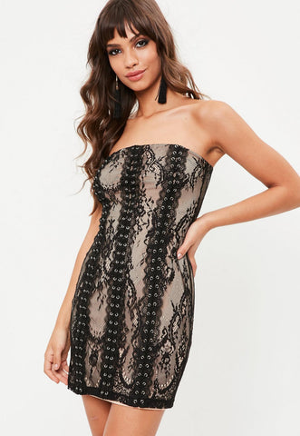 Lace eyelet detail dress