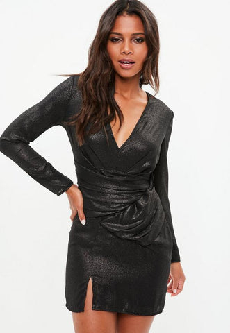 Metallic long sleeve wrap plunge dress