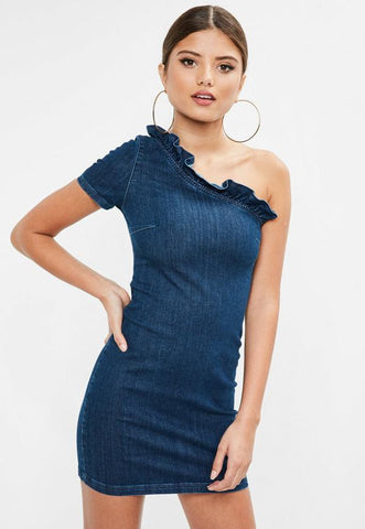 One Shoulder Frill Denim Dress