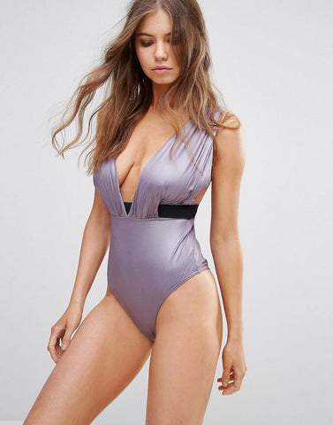 Glam Satin Plunge Drape Swimsuit