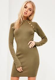 Military Button Bodycon Dress