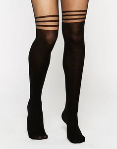 3 Stripe Over The Knee Tights
