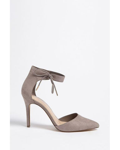 Faux suede ankle strap heels-grey