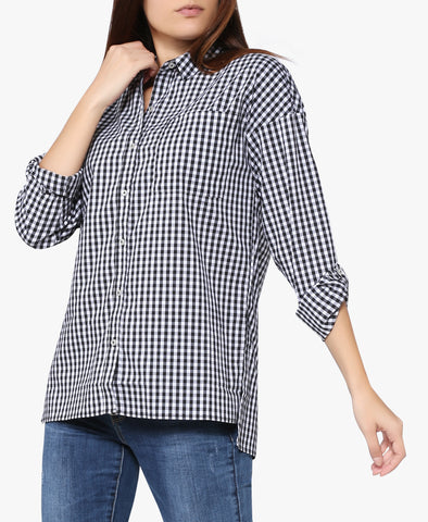 Gingham Plaid Buttoned Shirt