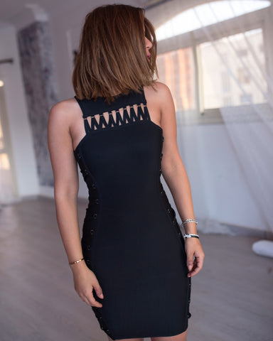 Bandage lattice detail dress