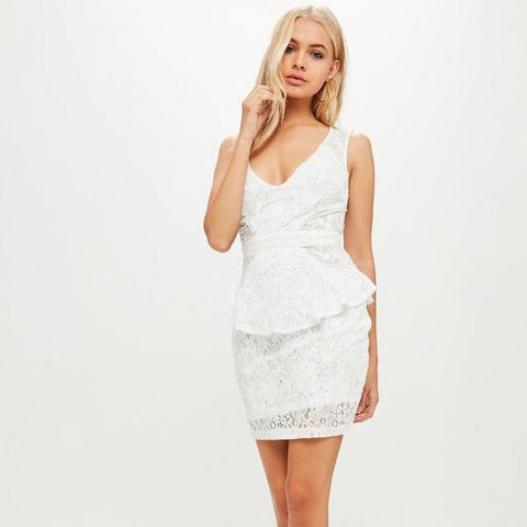 Lace plunge mesh peplum dress