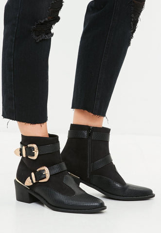 Ankle Boots in Cowboy Buckle Trim