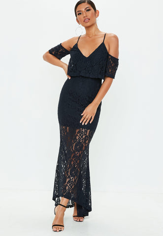 Cold Shoulder Lace Maxi Dress