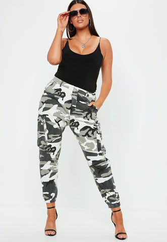 Plus Size Grey Camo Printed Combat Trousers