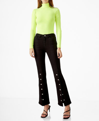 Black Button Detail Flared Jeans