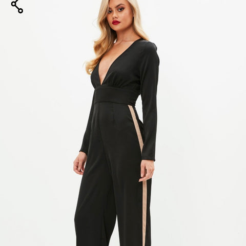 Plunge Jumpsuit with Beige Stripped Leg