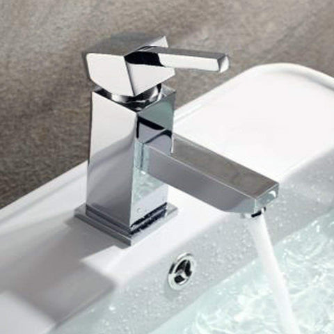 Modern Mono Basin Mixer Brass Tap With Sprung Waste AB05 - Chrome Finish