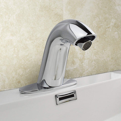 CURVED CHROME DECK MOUNTED AUTOMATIC INFRA-RED SENSOR BASIN MONO MIXER TAP