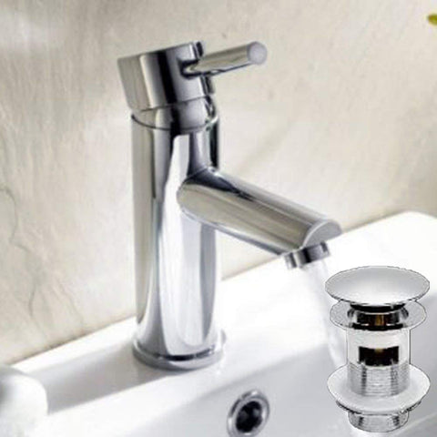 Modern Mono Basin Brass Mixer with Sprung Waste F05 - Chrome Finish