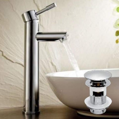 Modern Tall Mono Basin Brass Mixer with Sprung Waste F08 - Chrome Finish