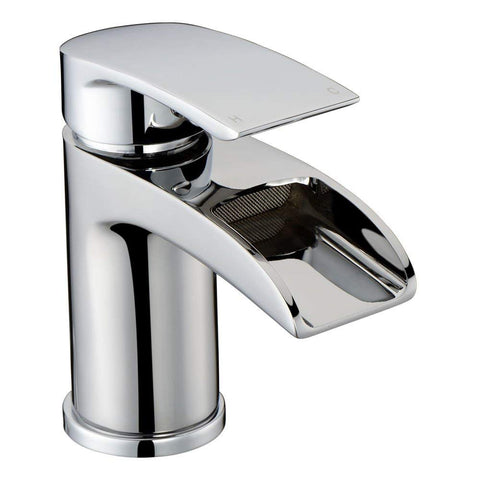 Modern Mono Basin Brass Mixer with Sprung Waste HC05 - Chrome Finish
