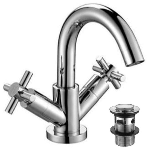 Modern Mono Basin Brass Mixer with Sprung Waste I05 - Chrome Finish