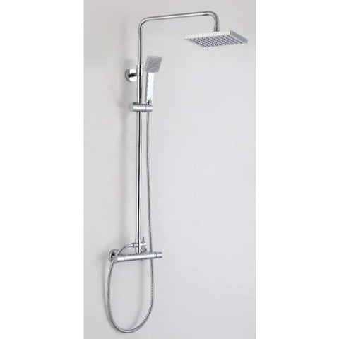 Modern Thermostatic shower mixer with rigid riser rail kit SHOWERS KI003 - Chrome Finish