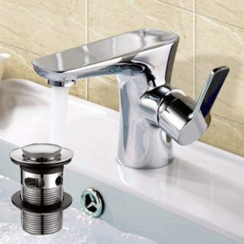 Modern Mono Basin Mixer Brass Tap With Sprung Waste LC05 - Chrome Finish