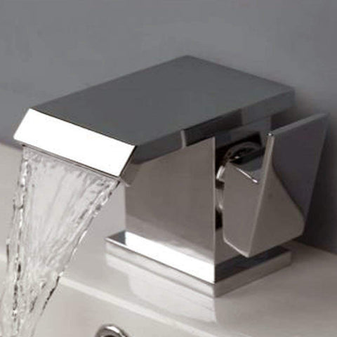 Modern Mono Basin Mixer Brass Tap With Sprung Waste Q05 - Chrome Finish