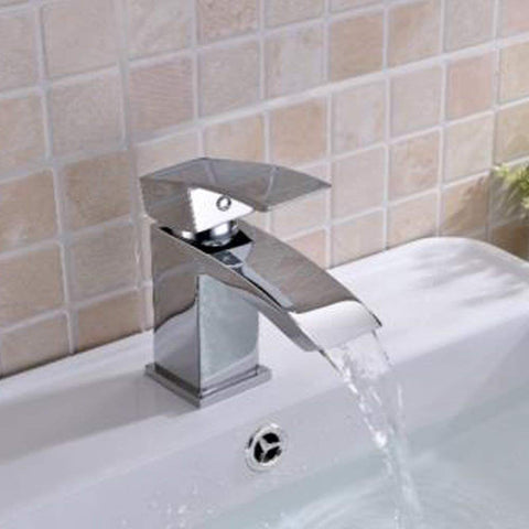 Modern Mono Basin Mixer Brass Tap With Sprung Waste SC05 - Chrome Finish