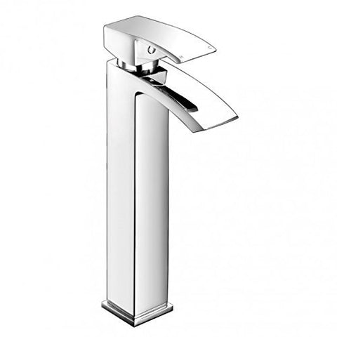 Modern Tall Mono Basin Mixer Brass Tap With Sprung Waste SC08 - Chrome Finish