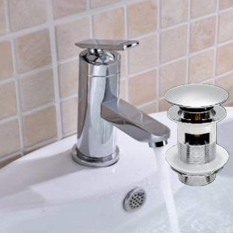 Modern Mono Basin Brass Mixer with Sprung Waste TC05 - Chrome Finish
