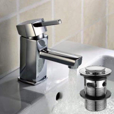 Modern Mono Basin Mixer Brass Tap with Sprung Waste Y05 - Chrome Finish