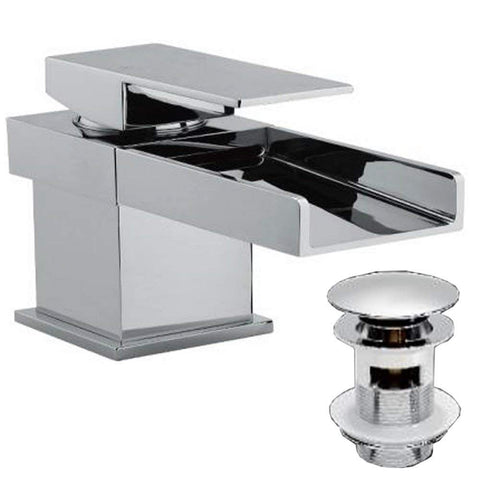 Modern Mono Basin Mixer Brass Tap With Sprung Waste Z05 - Chrome Finish