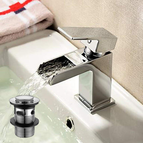 Modern Mono Basin Brass Mixer with Sprung Waste ZB05 - Chrome Finish