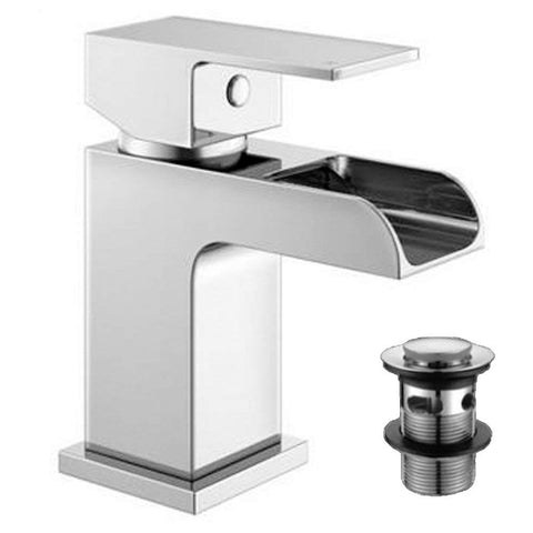 Modern Mini Mono Basin Brass Mixer with Sprung Waste ZB07 - Chrome Finish