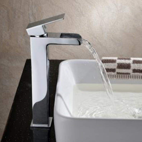 Modern Tall Mono Basin Brass Mixer with Sprung Waste ZB08 - Chrome Finish